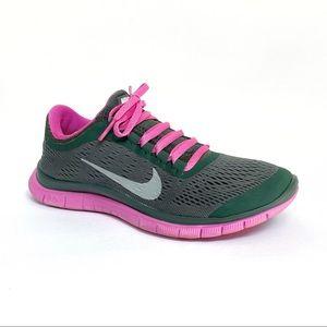 Nike free gray fabric pink rubber no tongue shoes